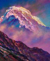 Annapurna夕映えに輝く